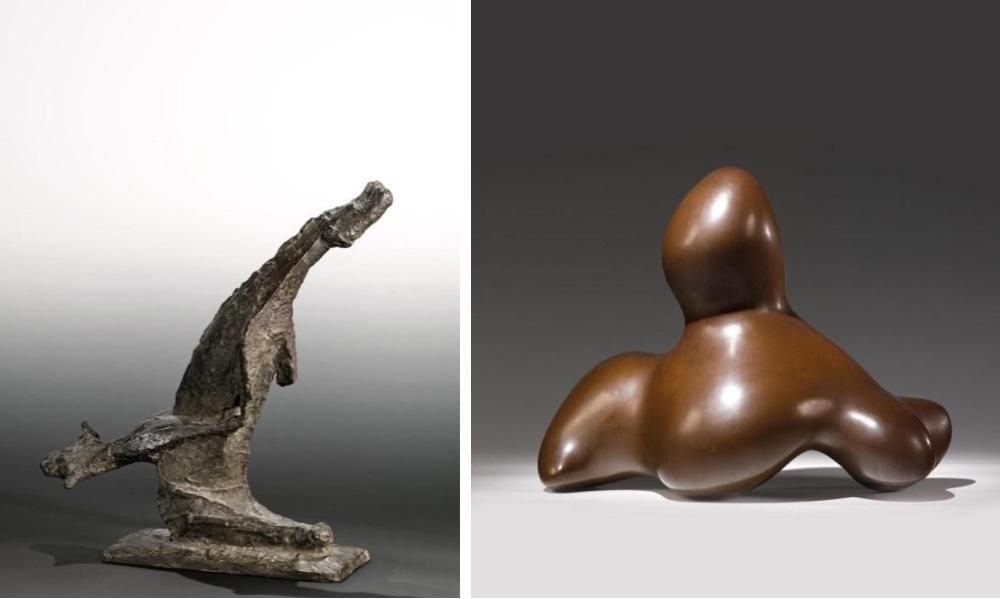 Vänster: MARINO MARINI (1901-1980) 'Litet mirakel', brons, 1955-1956- Höger: HANS (Jean) ARP (1886-1966) 'La Dame de Delos', Brons, 1959/1972.