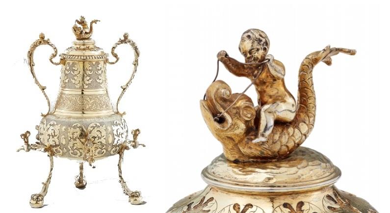 MATTHÄUS II BAUR. Jarra de café en plata dorada de Augsburgo (1697-99)