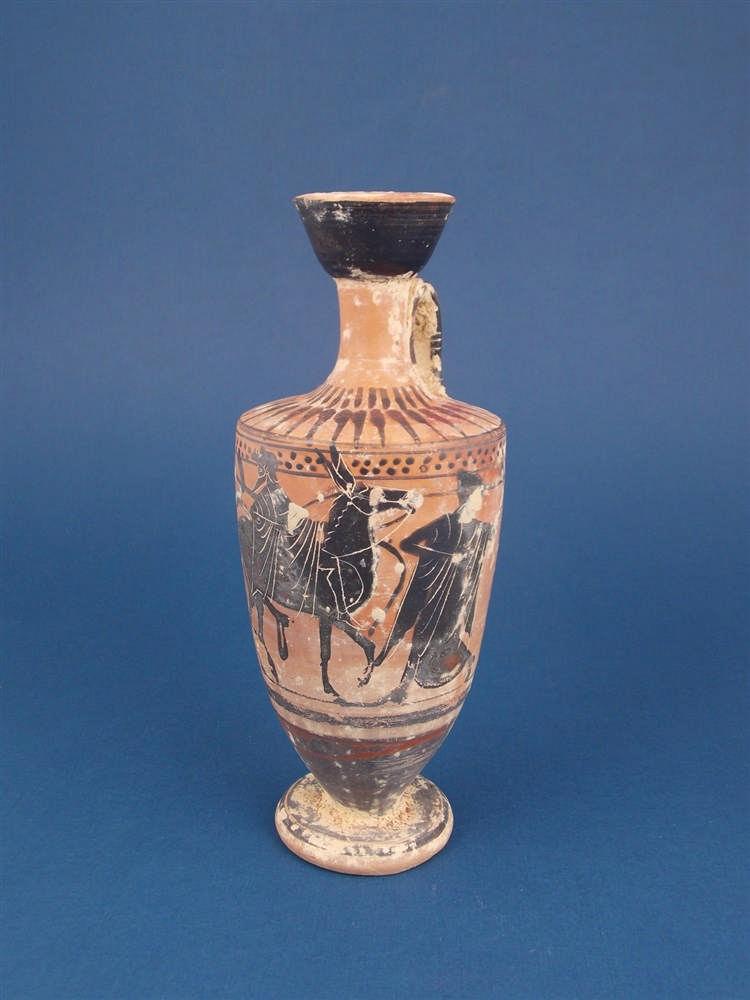 Attischer Lekythos mit schwarzfiguriger Bemalung, Griechenland 6. Jh. v. Chr.