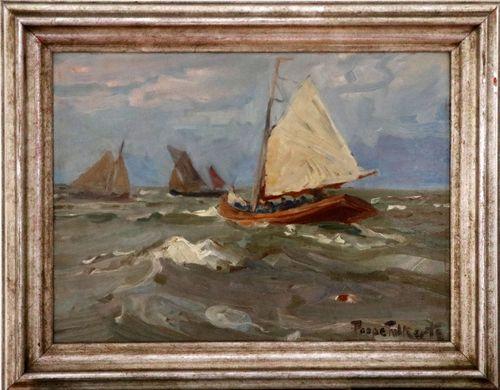 POPPE FOLKERTS (1875 Norderney 1949) - Drei Segler kreuzen auf bewegter Nordsee, Ölstudie/Karton