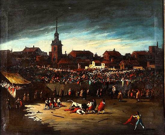 """École espagnole du XIXe siècle, """"Corrida de toros en la Plaza Mayor de Chinchón"""" Estimation basse: 500 euros"""