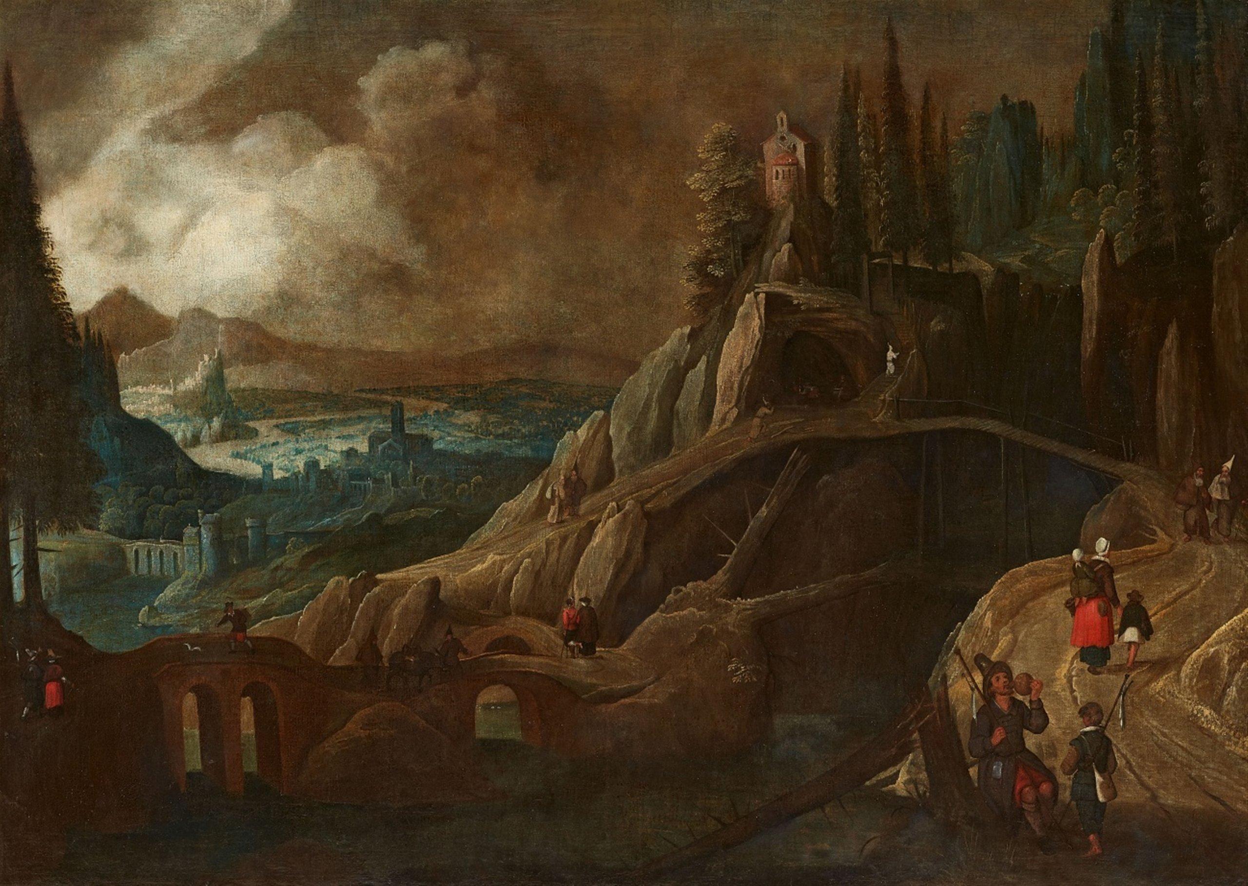 Tobias Verhaecht (Anvers, 1561 - 1631), Paysage fluvial avec un pont et une cascade - Lempertz. Estimation: 6000€-8000€