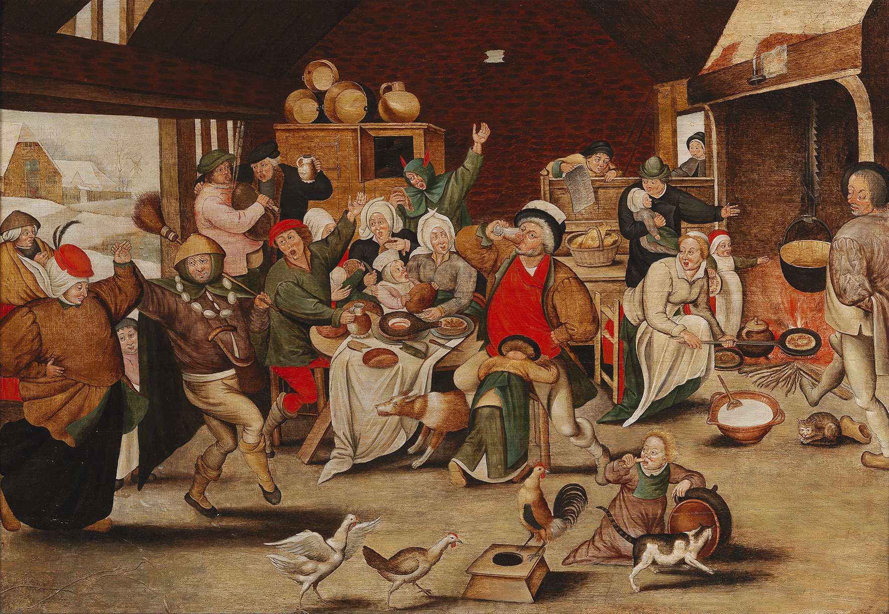 PIETER BRUEGHEL D. J. (1564/65 Brüssel – 1637/38 Antwerpen) - Der König trinkt, Öl/Holz, signiert