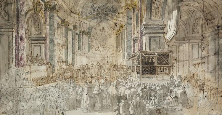Louis Jean Desprez teckning av Gustav III af Sverige på besök i en kyrka i Rom klubbades för 750 000 danska kronor vilket är en bit över 1 miljon svenska kronor. Bortsett det höga priset skulle jag inte bli det minsta förvånad om teckningen hänger på en av Nationalmuseums väggar när museet öppnar igen i oktober 2018