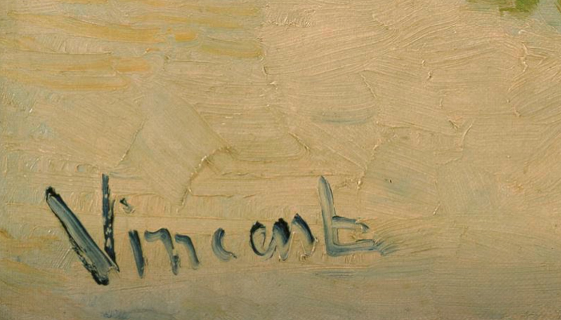 "Vincent van Goghs signatur, från tavlan ""The Langlois Bridge"", 1888. Foto: Van Goghmuseet."