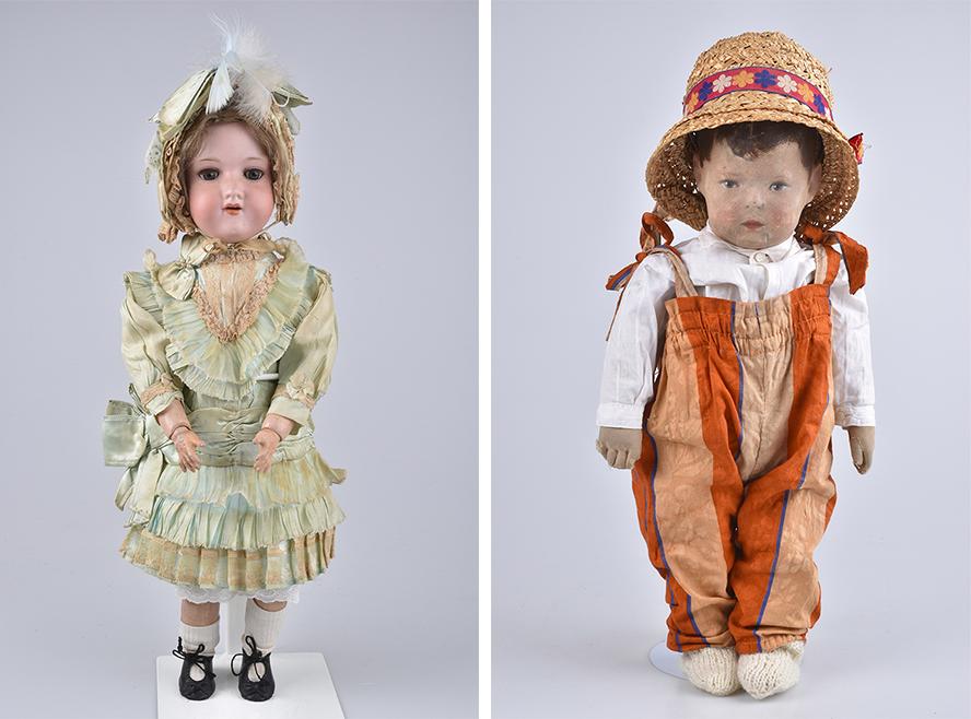 Links: ARMAND MARSEILLE Mädchen ab 1912 Rechts: KÄTHE KRUSE Junge, Puppe I, 1920er Jahre | Fotos: Alino