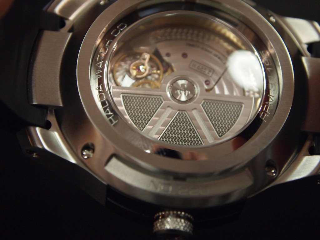 Caseback of Halda Race Pilot, Mechanical Module.