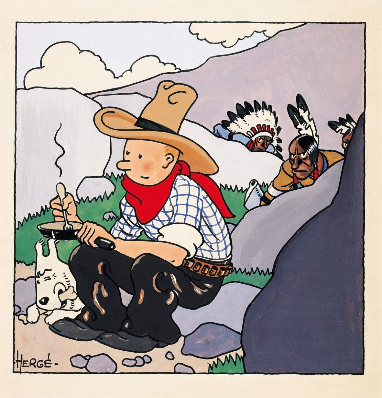 """La couverture de """"Tintin en Amérique"""" réalisée en 1932 par Hergé, s'était déjà vendue 1 338 509 euros lors d'une vente aux enchères chez Artcurial à Paris en juin 2012 Image via Artcurial"""