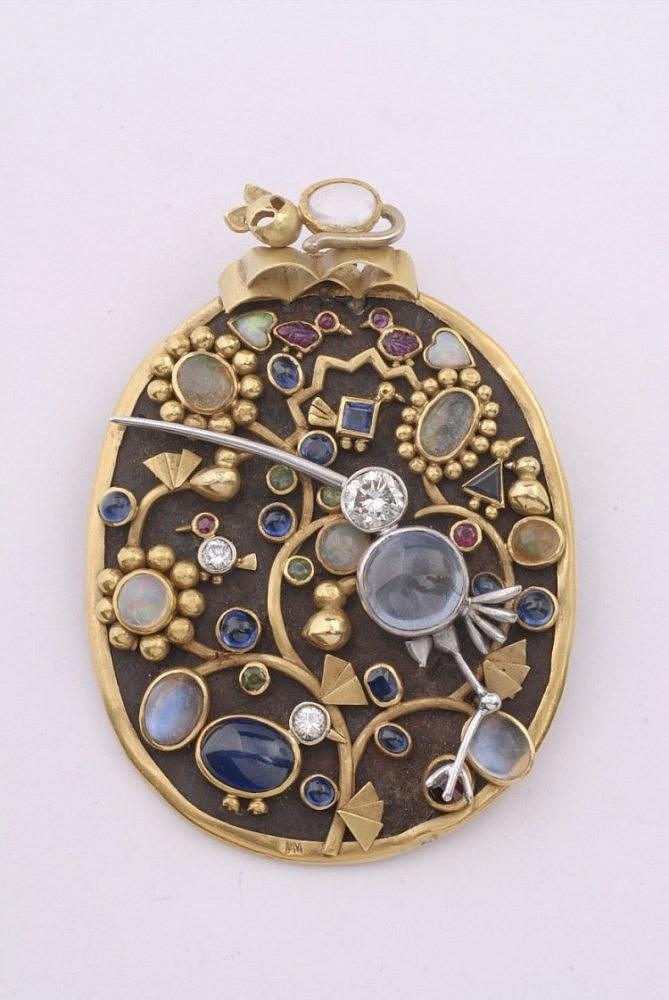 """An iron, platinum and 18k granulated gold """"Souvenir de Maroc"""" brooch"""