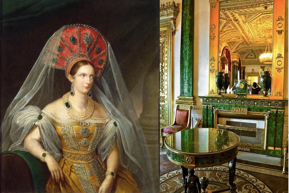 Links: Zarin Alexandra Fjodorowna, 1836 Abb. via Wikipedia Rechts: Kamin im Malachit Saal im Winterpalast Foto via Pinterest