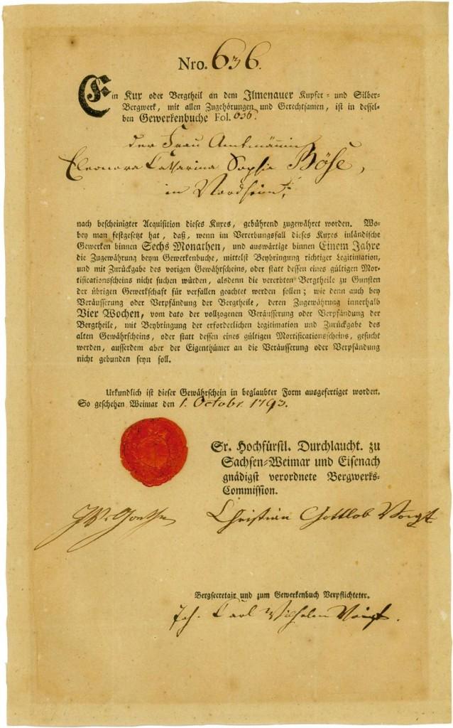 Ilmenauer Kupfer- und Silberbergwerk, Weimar, 01.10.1795, 1 Kux über 20 Thaler, davon 10 eingezahlt, #656