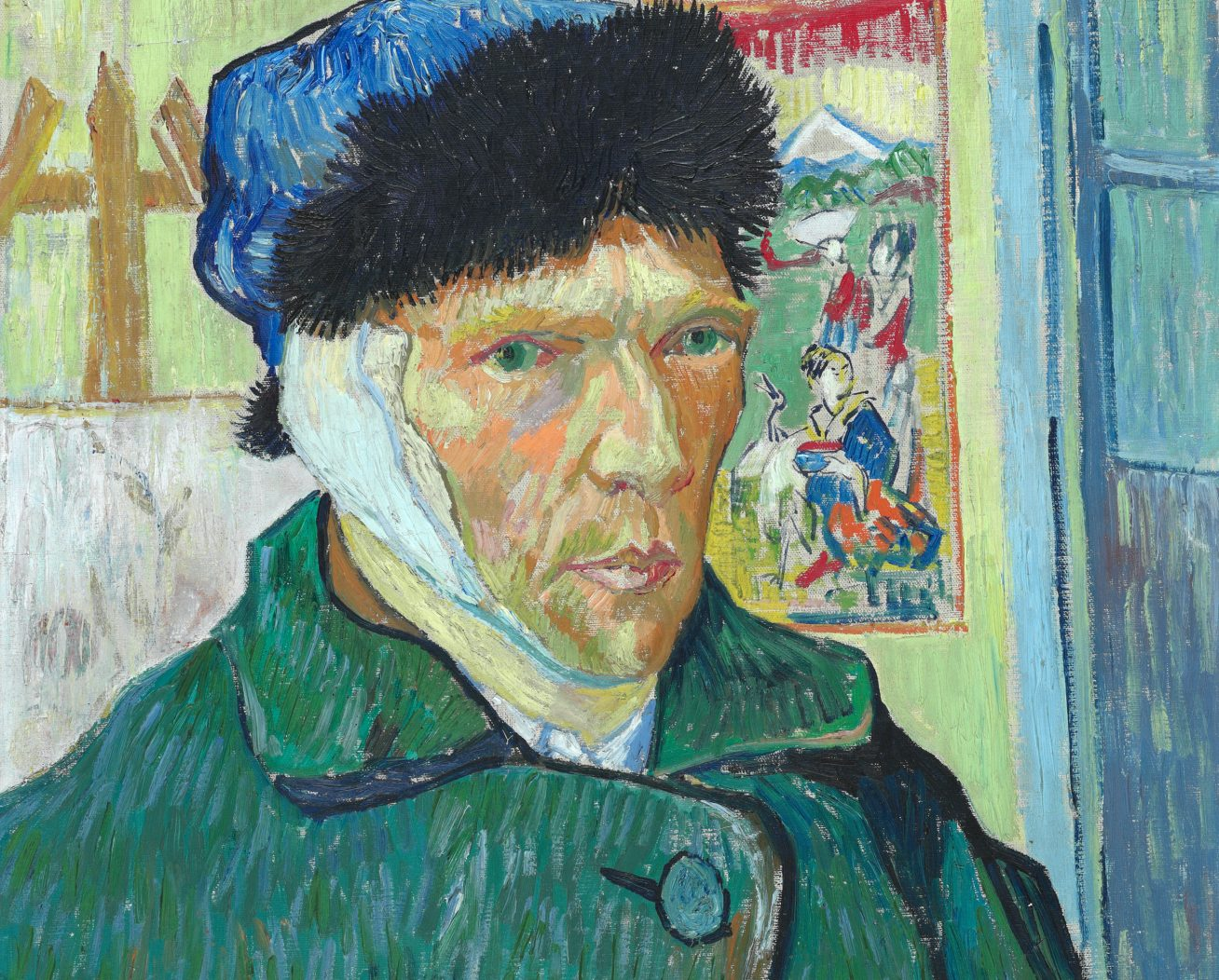 Vincent van Gogh, Autoportrait à l'oreille coupée, 1889, image via The Courtauld Institute of Art