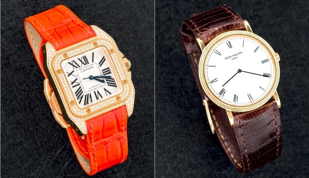 """Links: CARTIER Damenuhr """"Santos"""", Gelbgold und Diamanten Rechts: PATEK PHILIPPE Herrenuhr """"Calatrava"""", Gelbgold"""