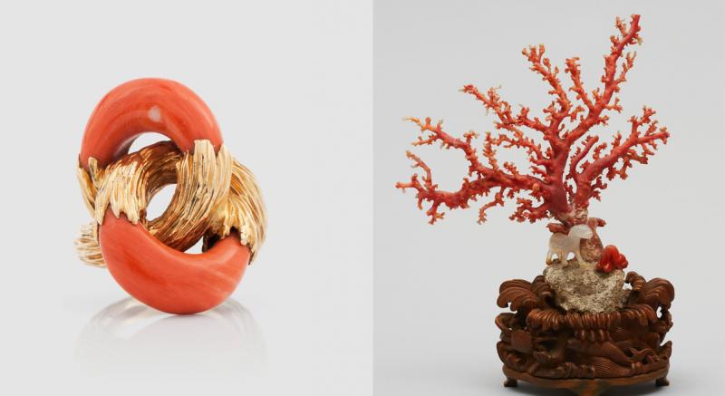 Gauche : bague en corail sculpté et or / Droite : figures en corail et agate, Chine, années 1900, images ©Bukowskis et Uppsala Auktionskammare