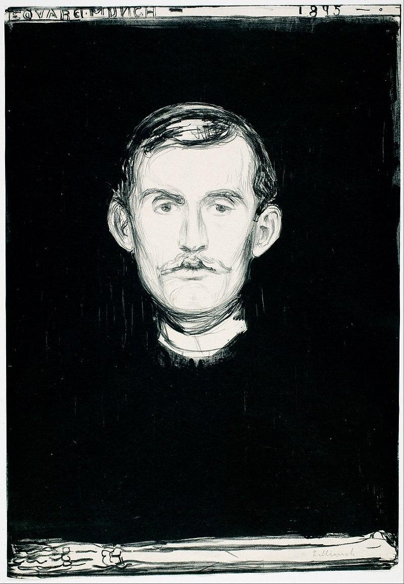Autoportrait au bras squelette, Edvard Munch, 1895, lithographie à l'encre