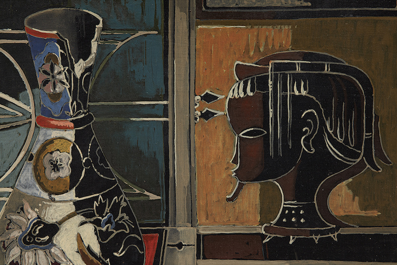 """Alexis Preller (1911-1975) , """"Still-life with Vase and Carved Head"""", 1956"""