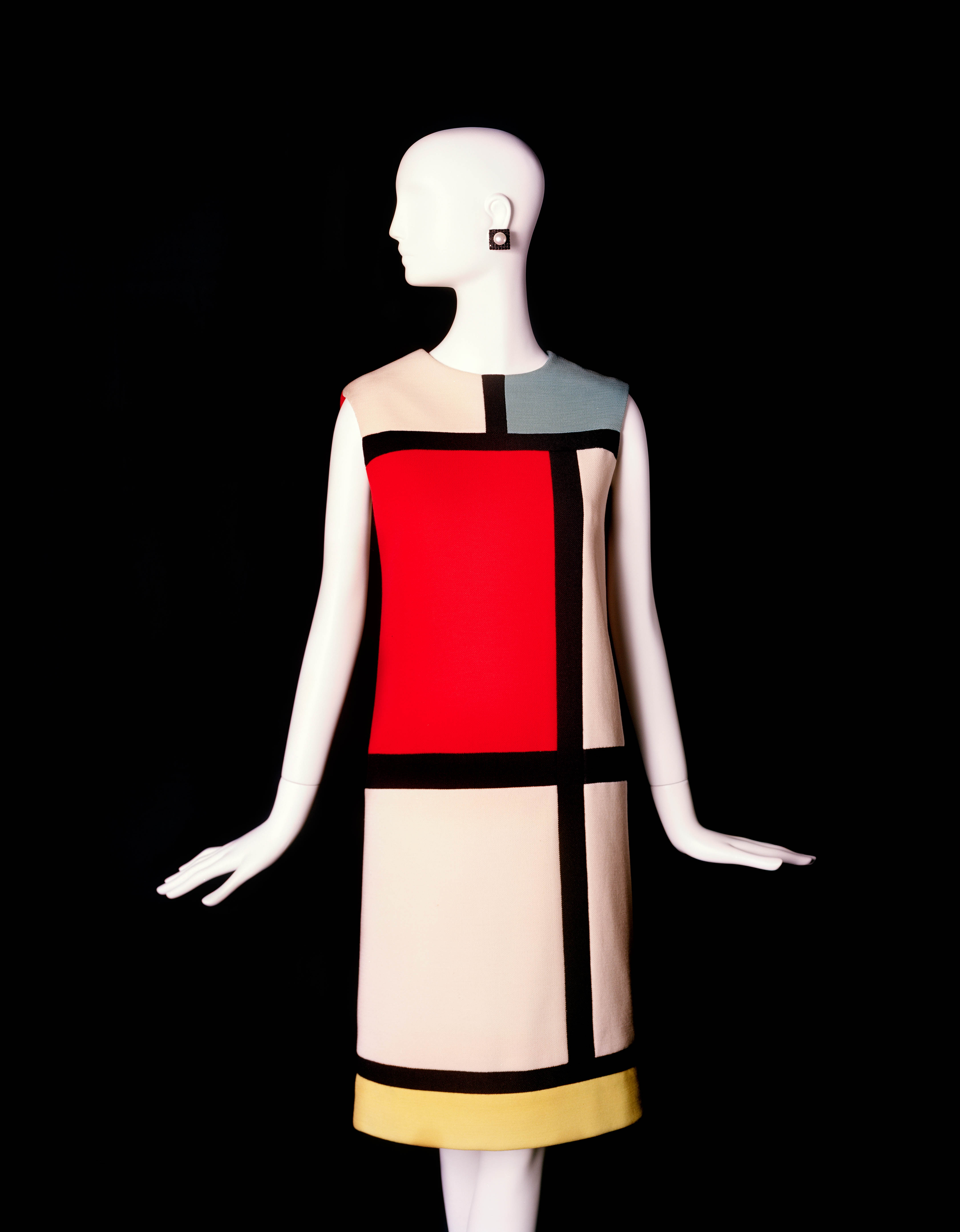 Mondrian Dress - An example of one of the Mondiran dresses is on display at the Bowes Museum, County Durham as part of the YSL retrospective 'Yves Saint Laurent: Style is Eternal'. Exhibition on until 25th October 2015. Image via thebowesmuseum.files.wordpress.com