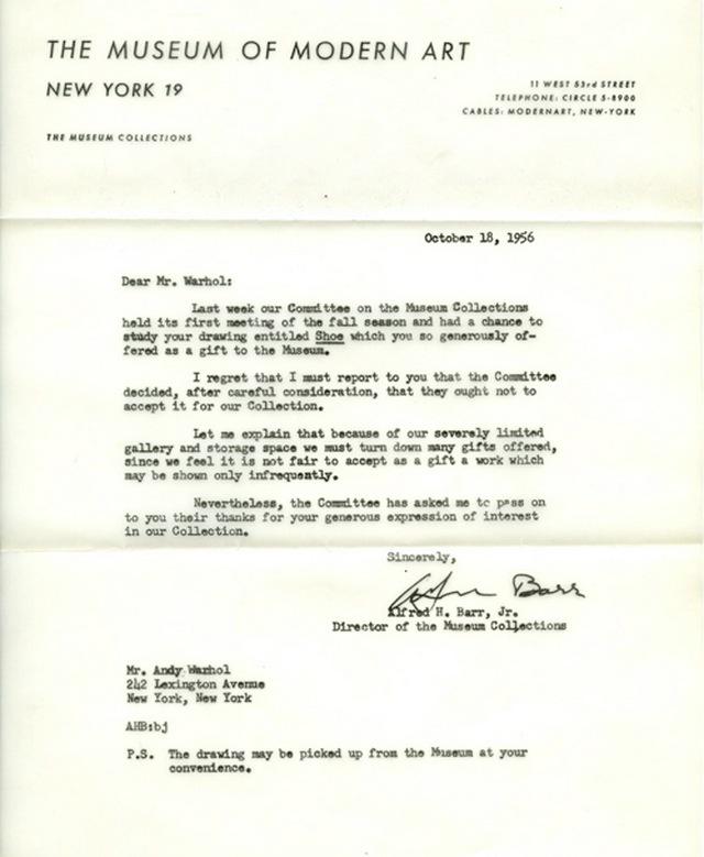 Carta del MoMA de 1956 dirigida a Andy Warhol. Imagen: MoMA