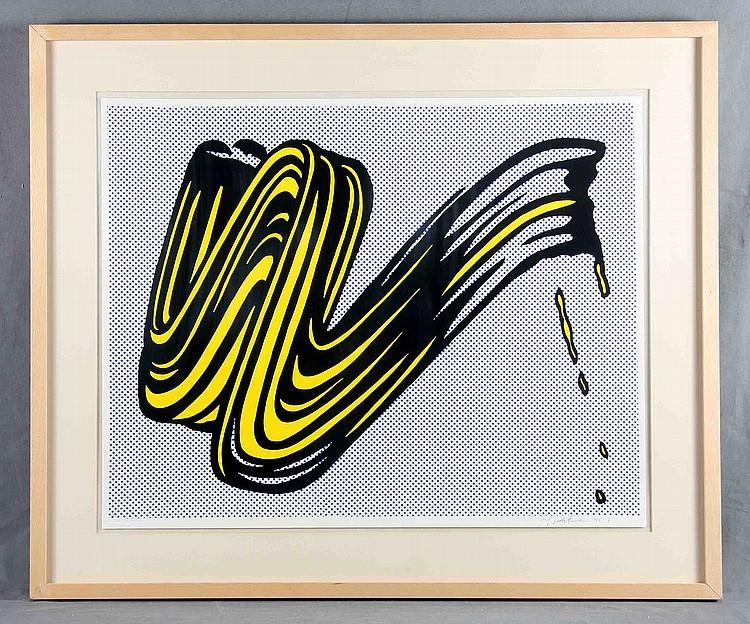 """ROY LICHTENSTEIN. """"Brushstroke"""". Impresión firmada a lápiz (1965)"""