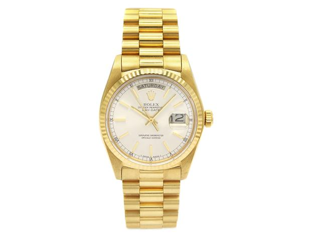 ROlex Oyster Perpetual, Day-Date, Chronometer, 18K guld. Utropspris: 90 000 kronor.
