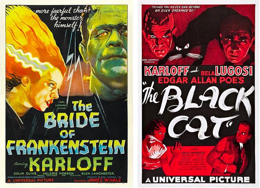 "Links: ""The Bride of Frankenstein"" (1935, Universal Pictures), Plakat für den US-Markt Rechts: ""The Black Cat"" (1934, Universal Pictures), Plakat für den US-Markt"