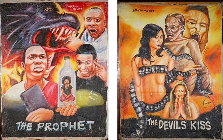 Links: MR. BREW - The Prophet, Ghanaian Movies, Öl/Lwd., signiert, 1990er Jahre Rechts: MR. BREW - The Devils Kiss, African Movie, Öl/Lwd., signiert, 1990er Jahre