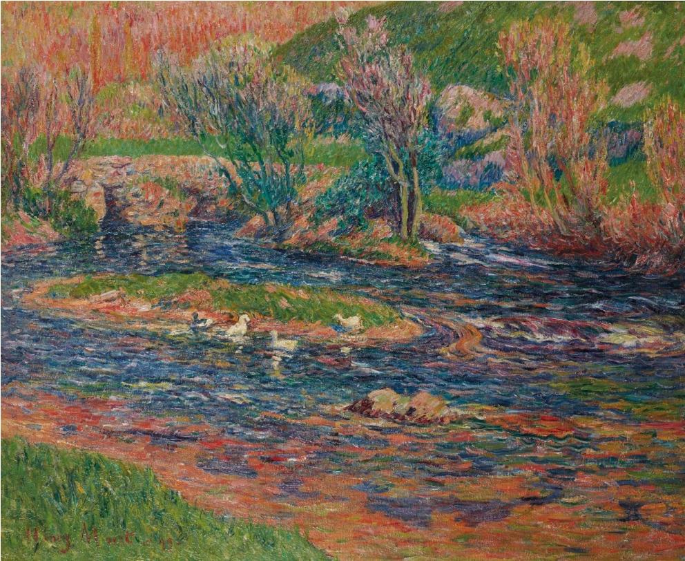 Henri MORET (Cherbourg 1856 - Paris 1913) Le vieux pont sur l'Aven, 1899