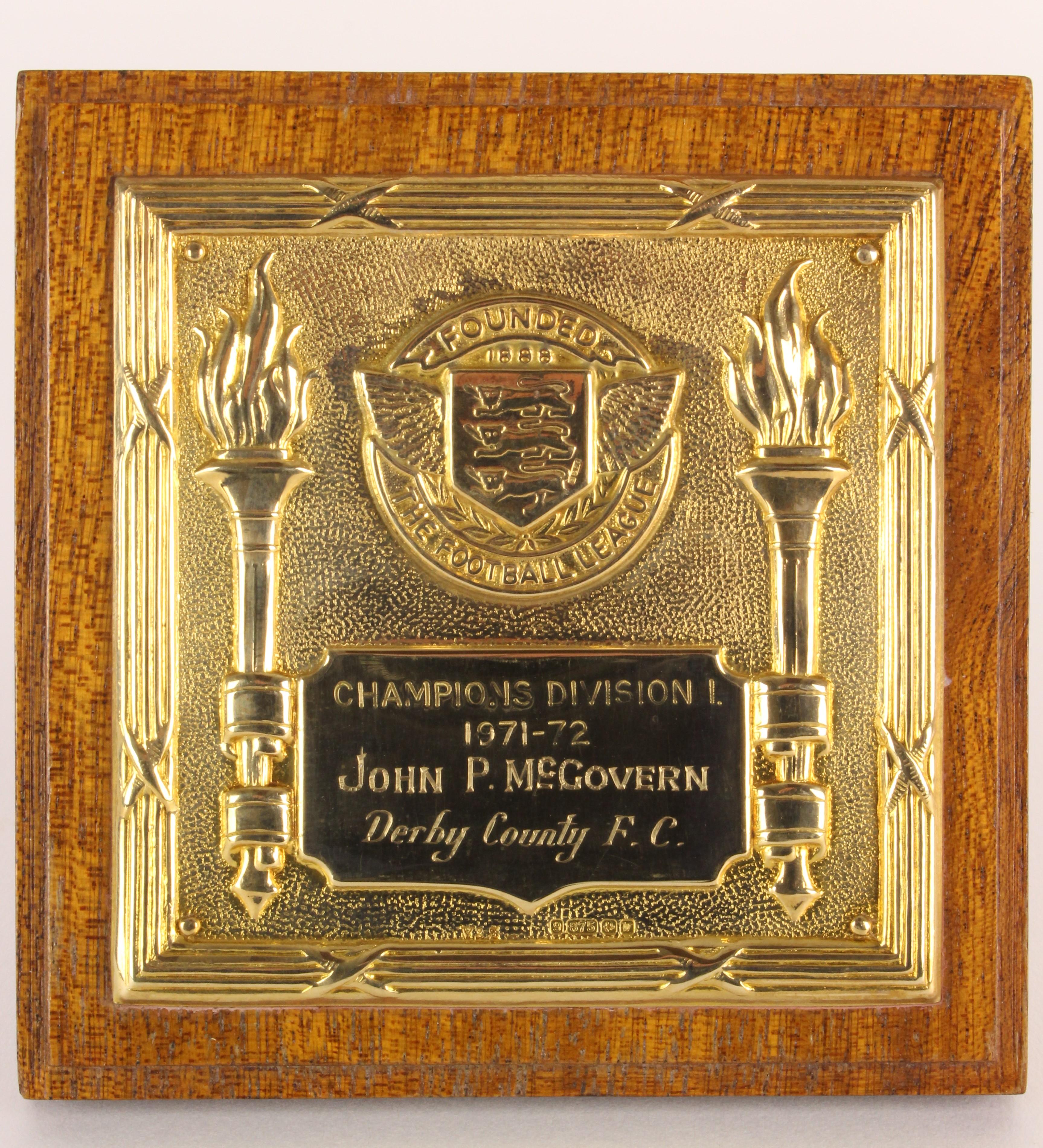John McGovern's Derby County Football League Division 1 Winner's medal, season 1971/72, in original box