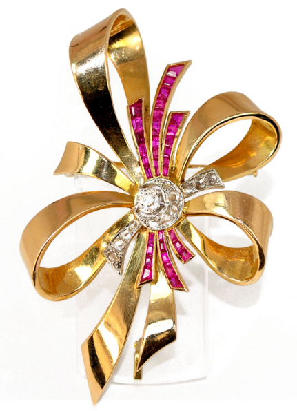 Broche 1950 or jaune 18K ganse diamant rubis Caroline Bellon - Adalgyse