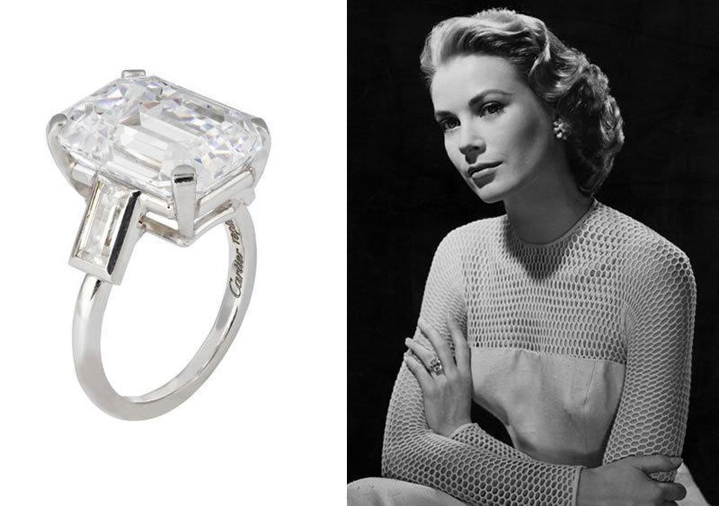 """Schauspielerin Grace Kelly sagte """"Ja"""" zu Fürst Rainier von Monaco ...und einem Diamantring von Cartier"""