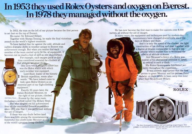 Sir Edmund Hillary und Reinhold Messner im Mai 1978 auf dem Mount Everest. Mit dabei: Uhren von Rolex