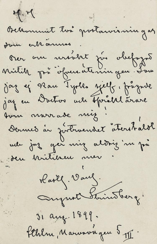 "Strindberg, August AUTOGRAPH LETTER SIGNED (""AUGUST STRINDBERG""), TO EMIL SCHERING Estimate 800 — 1,000 GBP"