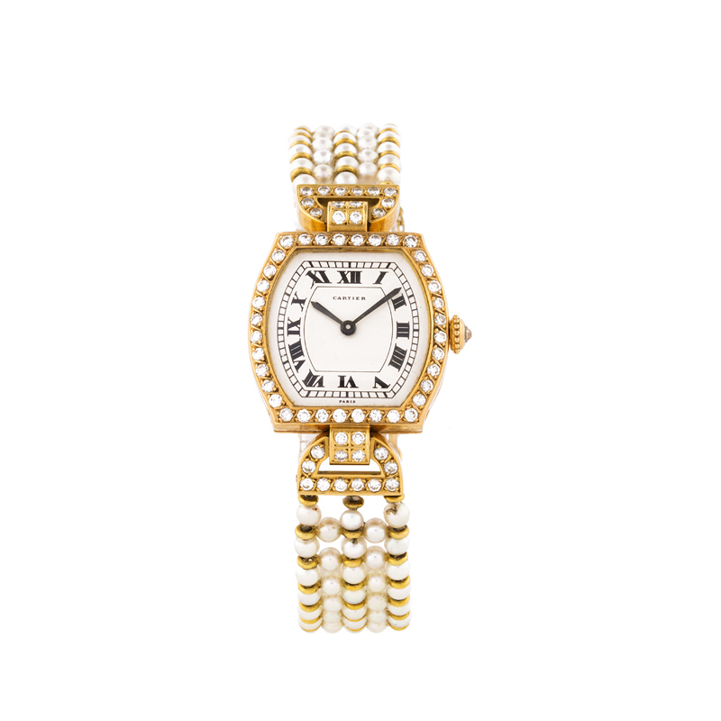 CARTIER - Lady's wrist watch, yellow gold with pearls and brilliants 1970s Estimate: 5 500-6 500 EUR Result: 6 765 EUR