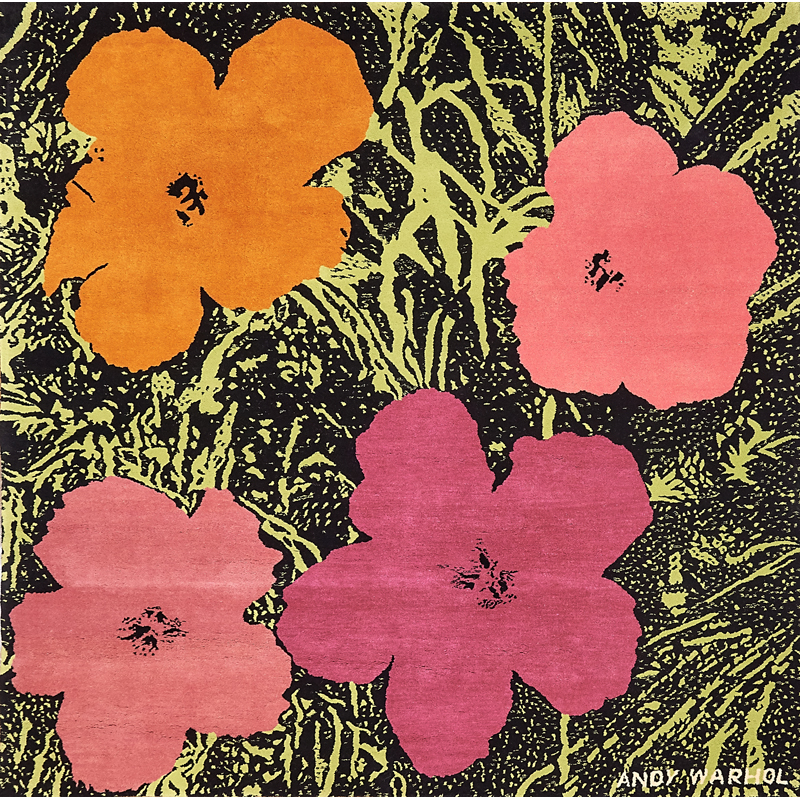 """Andy Warhol - Flowers Tapestry, 1968; Wool; Signed; From an edition of 20; 87"""" x 87""""; Publisher: Modern Masters Tapestries, New York. Est. $20,000 – 30,000"""