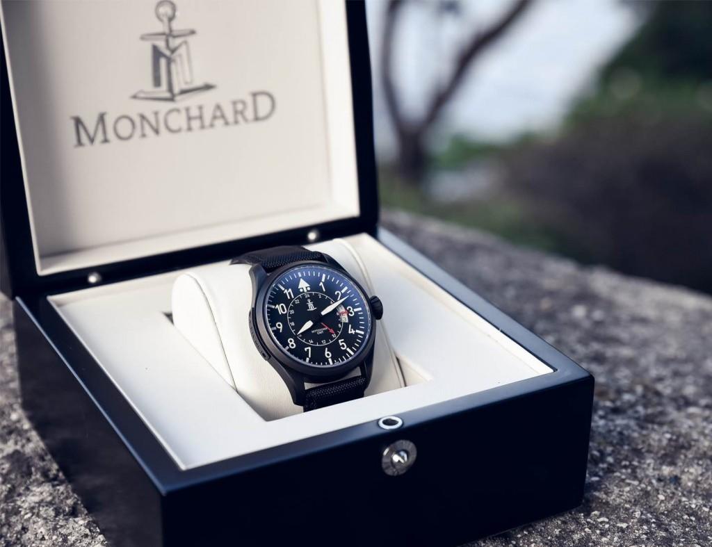 In the box: Monchard Skytoucher GMT, matte black PVD.