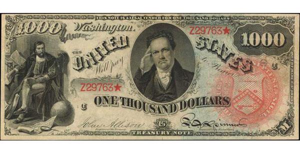 1869 $1000 Rainbow Legal Tender Note