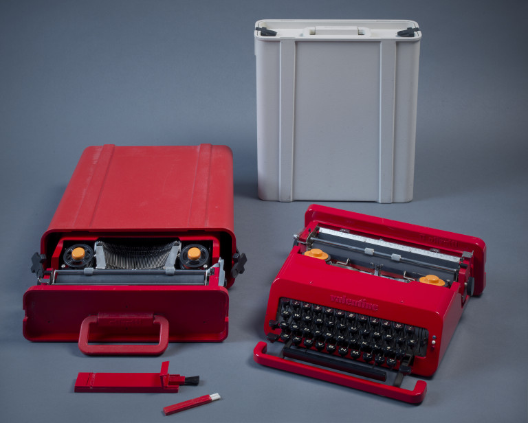 Ettore Sottsass and Perry King, Valentine S, typewriter, red and light grey version, Olivetti, Ivrea (IT) 1969. ABS plastic casing. Photo: Gert Jan van Rooij. Collection Stedelijk Museum Amsterdam. c/o Pictoright Amsterdam, 2017