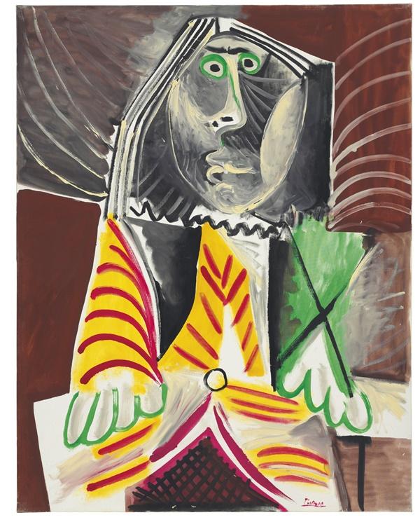 "Pablo Picasso, ""Homme assis"", 1969. Bild från Christie's."