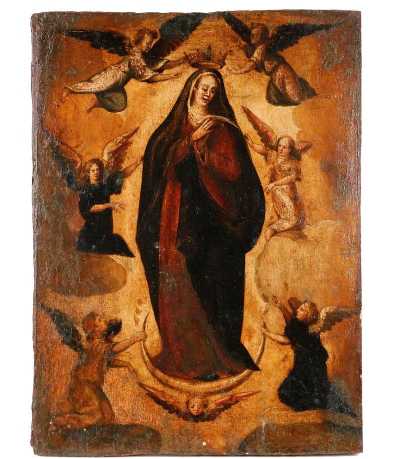 Icono religioso. La Asunción de la Virgen María como la Reina del Cielo (S. XVIII)