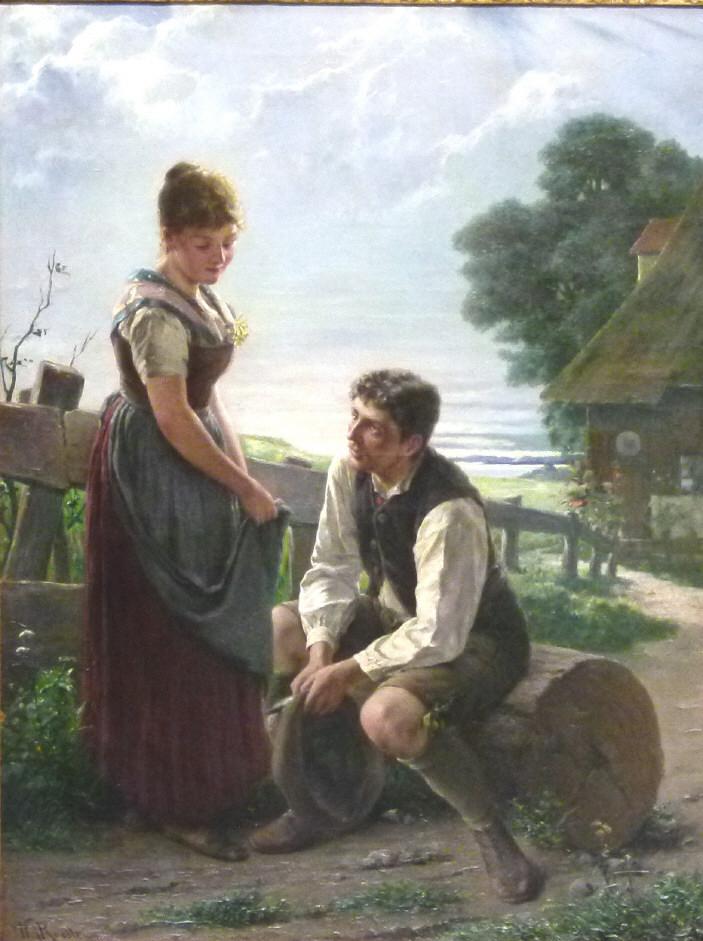 August Wilhelm Roesler (geb. 1837 Wien), Bauernpaar vor dem Hof im Gespräch, signiert, Öl/Lwd. Schätzpreis: 5.500 EUR