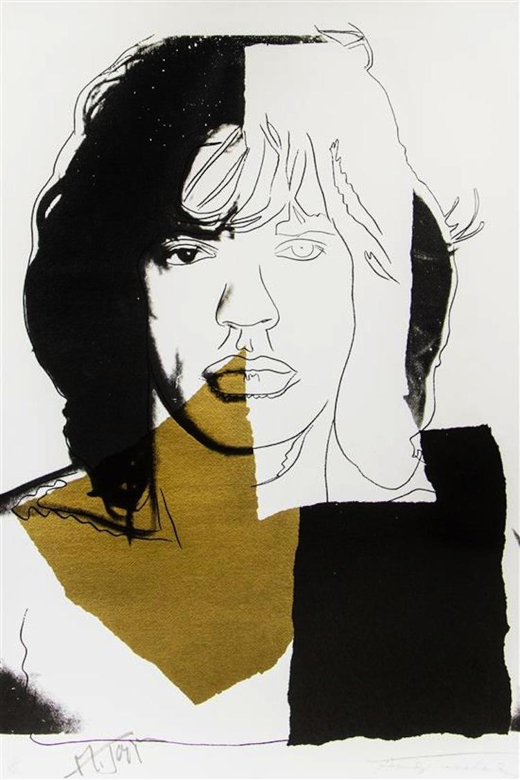 """Mick Jagger, sångare i the Rooling Stones var en av dem som fanns i Warhols närmaste krets. Andy Warhols screenprint """"Mick Jagger"""" från 1975 med upplagan 138/250 har ett utrop på 30 000-50 000 dollar hos Leslie Hindman Auctioneers"""