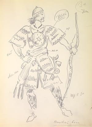 Un dessin du cahier personnel, daté 1957 - l'année de la mort de Dobujinsky Mstislav