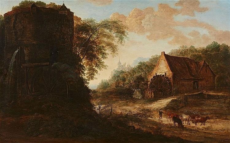 GILLIS NEYTS (um 1618 Overijse - 1687 Antwerpen) - Landschaft mit Wassermühle und Turm, Öl/Holz, signiert und datiert, 1666