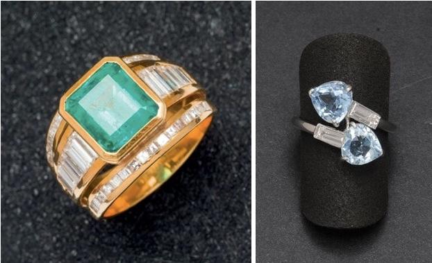 Links: Ring in Gelbgold mit Smaragd und Diamanten Rechts: Ring in Weißgold mit herzförmigen blauen Topasen