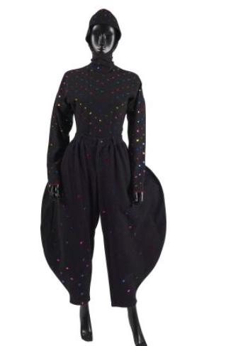 Autumn - Winter 1988/89 TOGETHER black cotton blend sprinkled with sequins and metallic colored stars