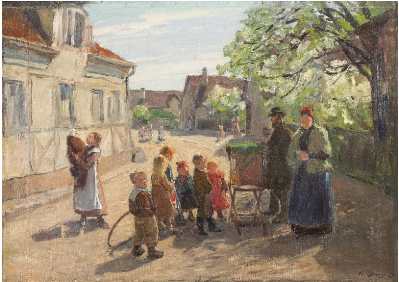 FRIEDRICH KALLMORGEN (1856 Hamburg-Altona - 1924 Grötzingen) - Der Leierkastenspieler, Öl/Lwd., signiert und datiert, 1906