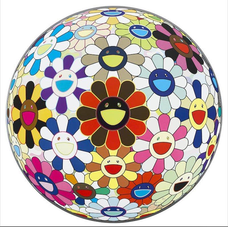 TAKASHI MURAKAMI. Flower Ball (3D) Sexual Violet nº 1. 2013