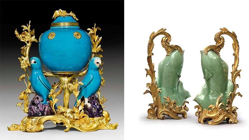 Gauche : pot-pourri en porcelaine chinoise avec monture française en bronze doré, XVIIIe siècle, image ©Koller / Droite : paire de vase en porcelaine de céladon chinois avec monture française en bronze doré, image ©Christie's