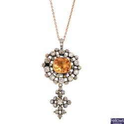 早期維多利亞黃玉和鑽石吊墜項鍊