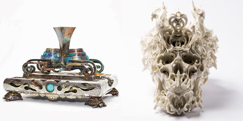 T.v. Boucheron, bläckbord, silver, delvis förgylld. T.h. Katsuyo Aoki, Predictive Dream LIV, 2016, porslin.